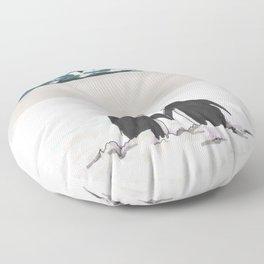 Penguins in love Floor Pillow