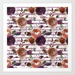 Vivid Plum and Orange Blossom with Feathers on White with Soft Purple Stripes  Art Print
