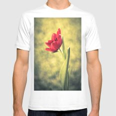 Red Tulips White Mens Fitted Tee MEDIUM