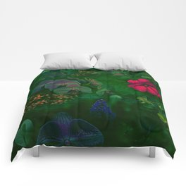 Gathering of Flowers - [Green Version] Comforters