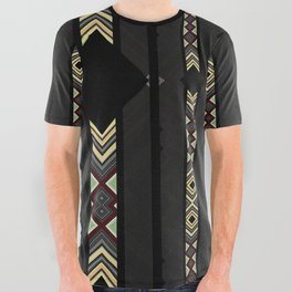 Southwestern Black Diamond Stripe Patterns All Over Graphic Tee