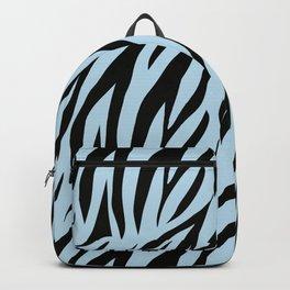 Zebra. 1  Black stripes on light blue background. Backpack