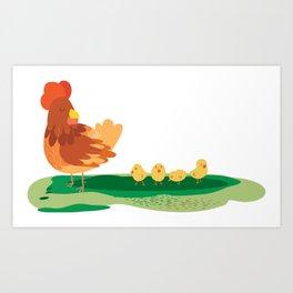 Moma hen and chicks Art Print
