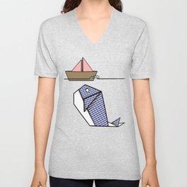 Origami Whale Unisex V-Neck