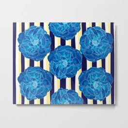 Blue Roses on Navy Stripes Metal Print