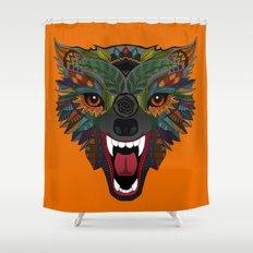 wolf fight flight orange Shower Curtain