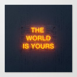 The World Is Yours Neon Canvas Print