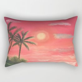 Palm trees swaying in the wind Rectangular Pillow