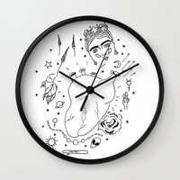 cactei Wall Clocks featuring Cactei by ☿ cactei ☿