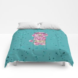 Fun Paint Splatter Poodle on Teal Comforters