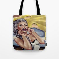 cherry Tote Bags featuring CHERRY by Enola Jay