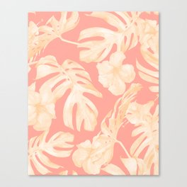 Pretty Pink and Coral Topical Monstera Pattern Canvas Print