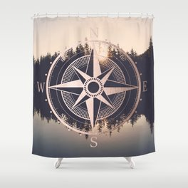Rose Gold Compass Forest Shower Curtain