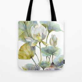 Lotus Plant and Fish Zen Design Watercolor Muted Pallet Botanical Art Tote Bag