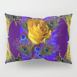 Gold Rose Peacocks Dragonflies Yellow Black Pillow Sham