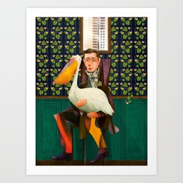 Man with Pelican Art Print