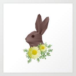Geometric rabbit and flowers Art Print
