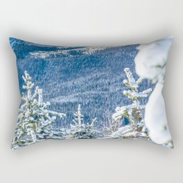 Powder Forest // Through the Trees Blue Snow Cap Mountain Backdrop Rectangular Pillow