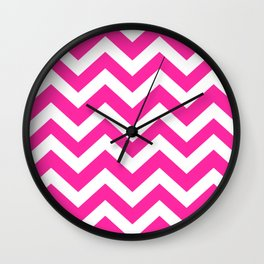 Persian rose - pink color - Zigzag Chevron Pattern Wall Clock
