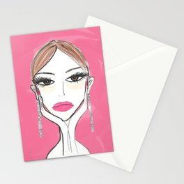 Another girl with the foil earrings #2 Stationery Cards