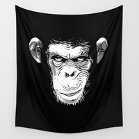 evil Wall Tapestries featuring Evil Monkey by Nicklas Gustafsson