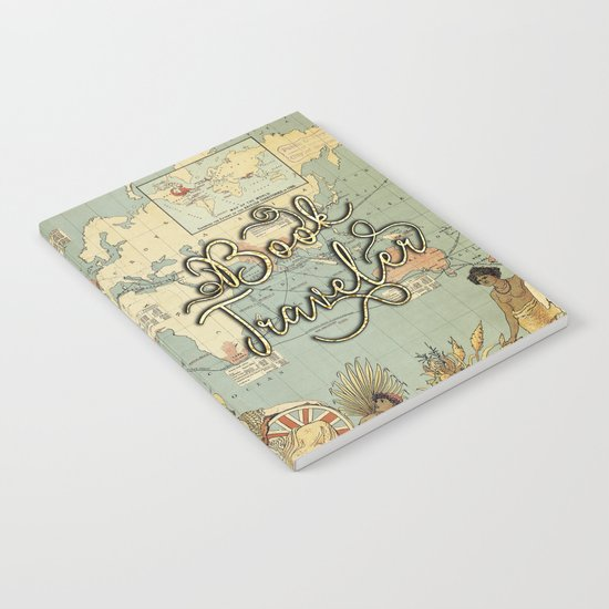Book Traveler Vintage Map v3 Notebook