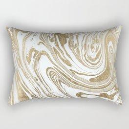Stylish white faux gold foil elegant marble Rectangular Pillow