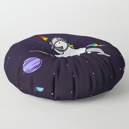 Unicorn Riding Narwhal In Space Floor Pillow