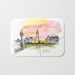 London, Big Ben. Watercolor and ink. Bath Mat
