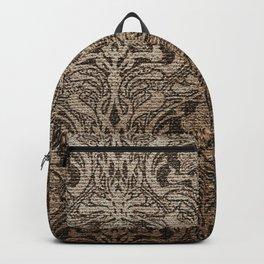 Brown, black, floral, art nouveau,  belle epoque, Vintage,Victorian, Chic, French chic, Antique, Retro, beautiful, Nouveau Backpack
