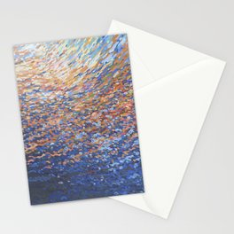Illuminated Ocean Waves at Sunset Stationery Cards