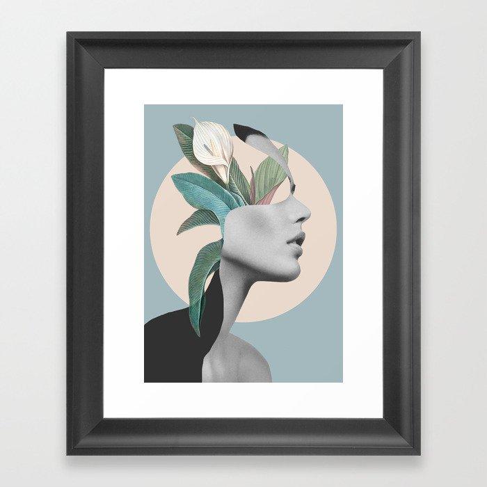 Floral Portrait /collage Gerahmter Kunstdruck