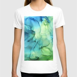 Blue Green Spring Marble Abstract Ink Painting T-shirt