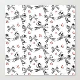 Pink bow heart Canvas Print