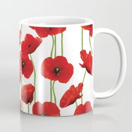 Poppies Flowers red field white background pattern Coffee Mug