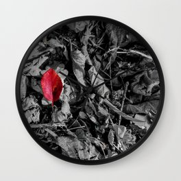 Red detail on black and white Wall Clock