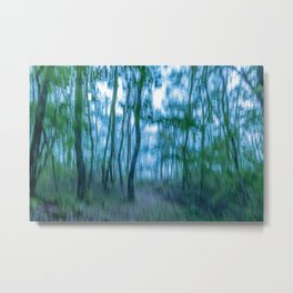 Intentional camera movement, forest, blue green version Metal Print