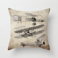 airplanes Throw Pillows featuring airplanes by Кaterina Кalinich