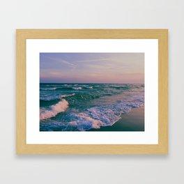 Sunset Crashing Waves Framed Art Print