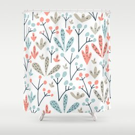 Coral Duck Egg Blue Greige Floral Leaves Shower Curtain