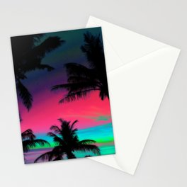 Deep Pink Palm Tree Sunset Stationery Cards