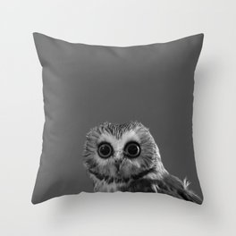 Saw Whet in Black and White Throw Pillow