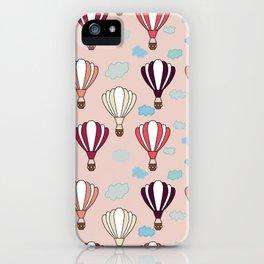 Pink Hot Air Balloon Blue Clouds Pattern Design  iPhone Case