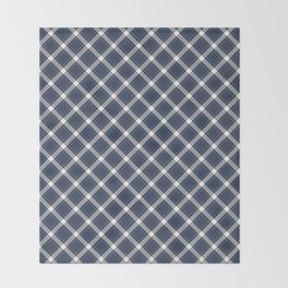 Navy Blue, White, and Black Diagonal Plaid Pattern Throw Blanket