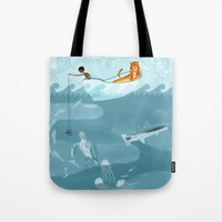 fishing Tote Bags featuring Fishing by Erik Krenz