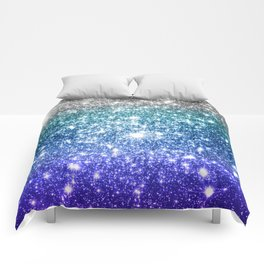 Silver Ocean Blue Galaxy Sparkle Stars Comforters