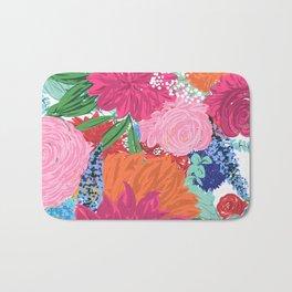 Pretty Colorful Big Flowers Hand Paint Design Bath Mat