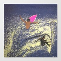 surfing Canvas Prints featuring SURFING by aztosaha