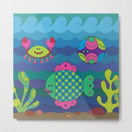 Stylize fantasy fishes under water. Metal Print