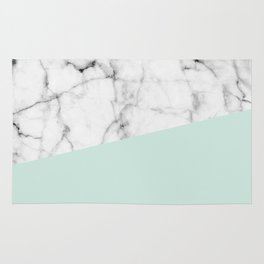 Real White marble Half pastel Mint Green Rug